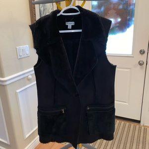 Susan graver faux sheepskin suede vest